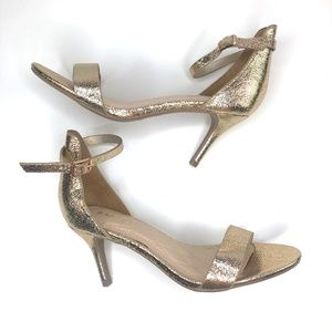 Bamboo Harleen Sparkly Gold Strappy Heels NWOB